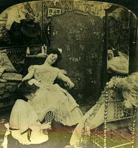 USA Scene de Genre After the Ball Old HC White Stereoview Photo 1902