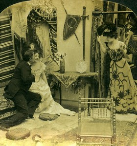 USA Scene de Genre And Impatiently Waiting for me HC White Stereoview Photo 1902