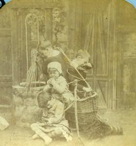 French Scene de Genre Bogeyman's Basket Old Block Stereoview Photo 1870