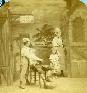 French Scene de Genre Distracted Barber Old Block Stereoview Photo 1870