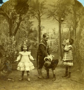 French Scene de Genre Playtime Children Toys Old Block Stereoview Photo 1870