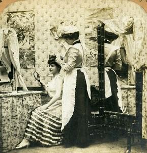 French Scene de Genre Coquetterie Coquetry Old Block Stereoview Photo 1900