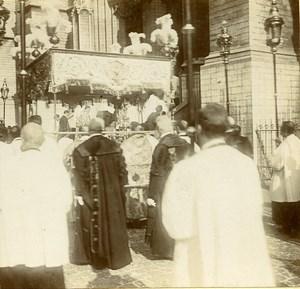 France Service Religieux Procession Paris? ancienne Photo Stereo Amateur 1900