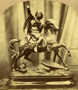 Royaume Uni Sculpture Charlemagne Bronze Equestre ancienne Photo Stereo 1865