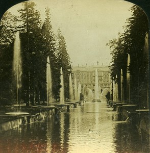 Russia Saint Petersburg Peterhof Palace Fountains HC White Stereoview Photo 1901