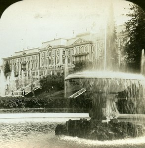 Russia Saint Petersburg Peterhof Palace Fountain HC White Stereoview Photo 1901