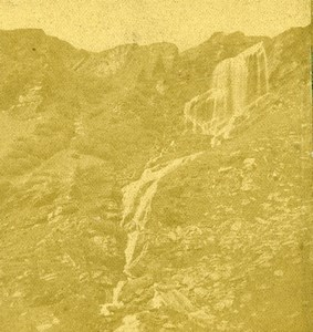 Switzerland Meringen Alpbachfall Waterfall Old Braun Photo Stereoview 1860