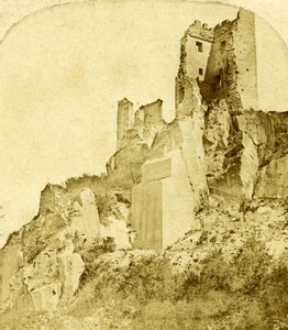 Germany Rhine Drachenfels Burg Ruins Old Photo Stereoview 1860