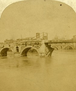 Italy Rome Roma Pons Aemilius Ponte Rotto Old Photo Stereoview 1860