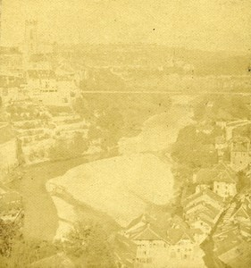 Germany Rhine River Unidentified Town Old Photo Stereoview 1870