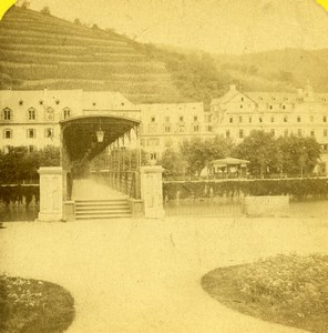 Allemagne Bords du Rhin Ems le pont de fer ancienne Stereo Photo 1870