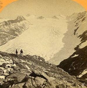 Austria Tyrol Glacier Ötztal Oetzthal near Gurgl Old Photo Stereoview Lamy 1870