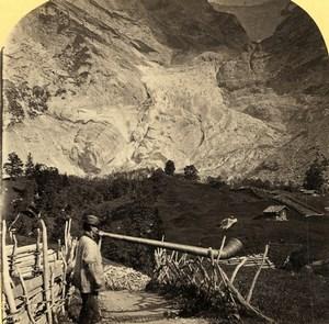 Switzerland Grindelwald Glacier Alphorn Old Photo Stereoview Gabler 1885