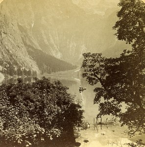 Germany Bavarian Alps Obersee Lake Old Photo Stereoview Jarvis 1890's
