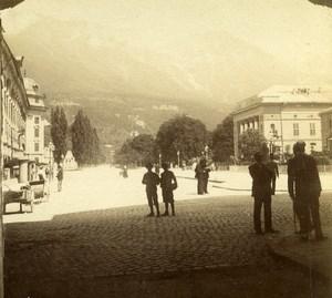 Autriche Tyrol Innsbruck Scene de Rue Rennweg ancienne Stereo Photo 1890
