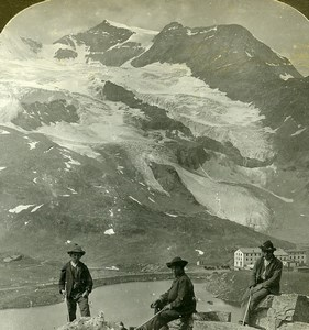 Switzerland Piz Cambrena Glacier Mountain Hiking Old Stereoview Photo 1900