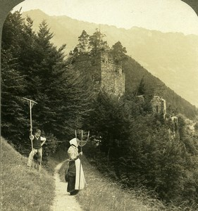 Switzerland Ruins of Usnpunnen Castle Old Stereoview Photo 1900