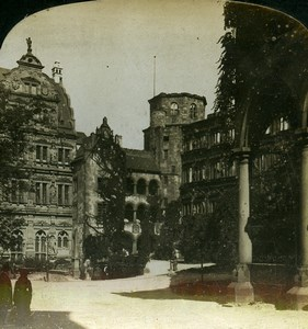 Germany Heidelberg Castle Interior Court Old Photo Stereoview HC White 1900