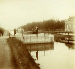 Belgique Schoten hof Ecluse du canal de Herentals? ancienne Photo Stereo Amateur 1919