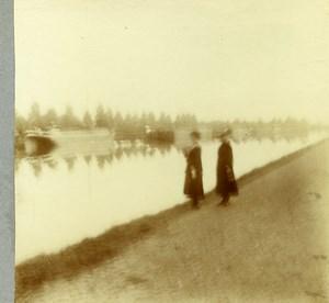 Belgique Schoten hof Canal de Herentals? Ancienne Photo Stereo Amateur 1919