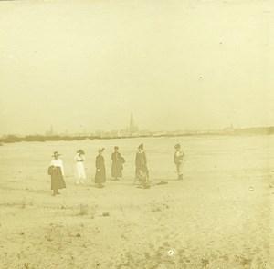Belgique Anvers Plage Sainte Anne Sint-Anneke ancienne Photo Stereo Amateur 1919