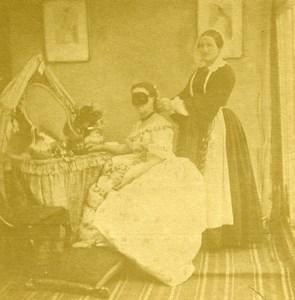 France Scene de Genre Woman Wearing Mask Old Stereoview Photo 1865