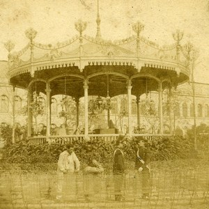France Paris? Bandstand Soldiers Guards Old Stereoview Photo 1860