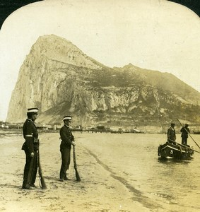 Gibraltar from Spain Spanish Sentinels Old Photo Stereoview HC White 1900
