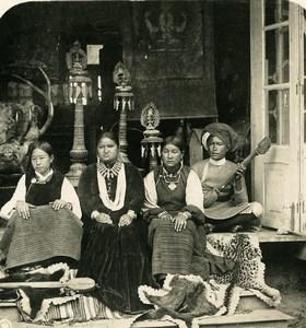 Sikkim Himalaya Women Bhutia Darjeeling Musicians Stereo Photo Kurt Boeck 1906