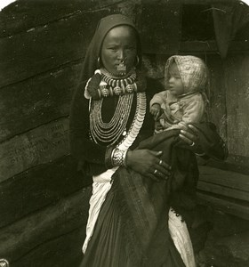 India Sikkim Sikhim Himalaya Woman & Child Old Stereo Photo Kurt Boeck 1906