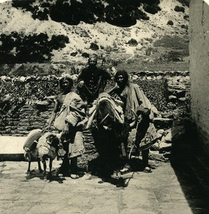 India Sikkim Sikhim Himalaya Tibetan Travellers Old Stereo Photo Kurt Boeck 1906