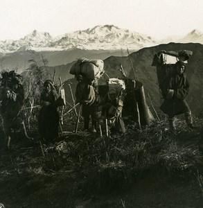 Sikkim Sikhim Himalaya Coolies Porters Bivouac Old Stereo Photo Kurt Boeck 1906