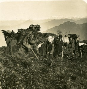 Sikkim Sikhim Himalaya Coolies Porters Everest Old Stereo Photo Kurt Boeck 1906