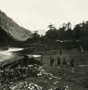 India Sikkim Sikhim Himalaya Camp site Old Stereo Photo Kurt Boeck 1906