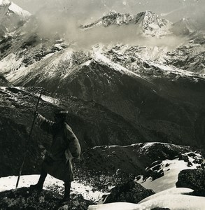 Sikkim Sikhim Himalaya Kangchenjunga Panorama Old Stereo Photo Kurt Boeck 1906