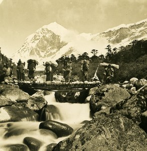 India Sikkim Himalaya betwen Dzongri & Chemtang Stereo Photo Kurt Boeck 1906