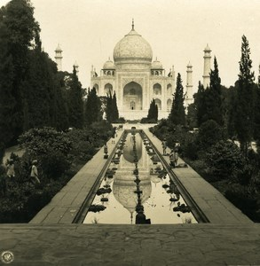 Inde Agra Taj Mahal Reflection Panorama ancienne Stereo Photo Kurt Boeck 1906
