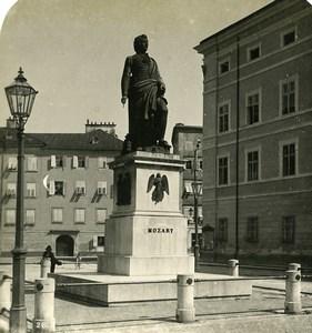 Austria Salzburg Mozart Mozartplatz Old Stereo Photo Wurthle 1900