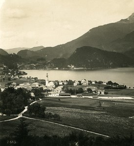 Austria Salzkammergut St Gilgen Schafberg Old Stereo Photo Wurthle 1900