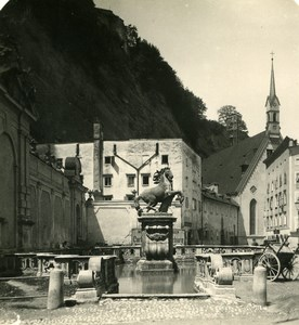 Austria Salzburg Neutor Horse Fountain Old Stereo Photo Wurthle 1900