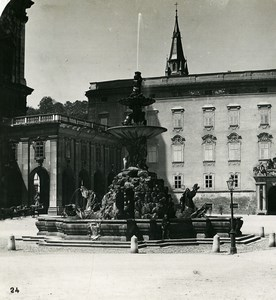 Austria Salzburg Residenz Fountain & Palace Old Stereo Photo Wurthle 1900