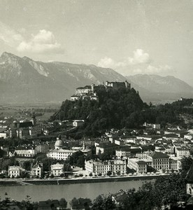 Austria Salzburg view from Kapuzinerberg Old Stereo Photo Wurthle 1900