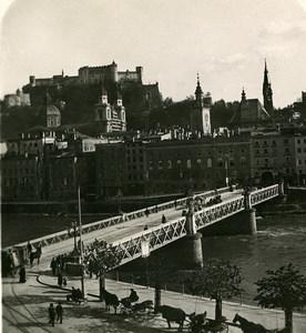 Austria Salzburg the Staatsbrucke Bridge Old Stereo Photo Wurthle 1900