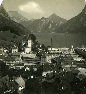 Austria Salzkammergut Ebensee Old Stereo Photo Wurthle 1900