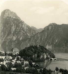 Austria Salzkammergut Traunkirchen Old Stereo Photo Wurthle 1900