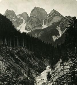 Autriche Salzkammergut Donnerkogeln ancienne Stereo Photo Wurthle 1900