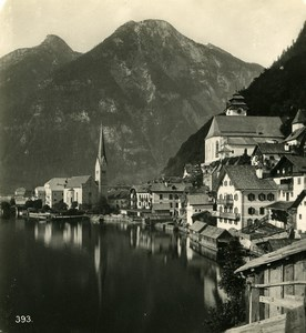 Austria Salzkammergut Hallstatt Village Old Stereo Photo Wurthle 1900