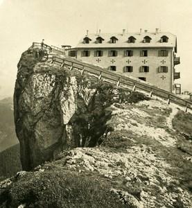 Austria Salzkammergut Schafbergspitze Hotel Old Stereo Photo Photobrom 1900
