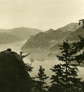 Austria Salzkammergut Traunsee Traunstein Lake Old Stereo Photo Photobrom 1900