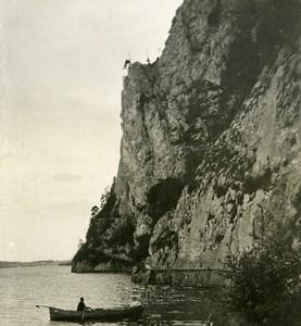 Austria Salzkammergut Gmunden Miesweg am Traunstein Stereo Photo Photobrom 1900